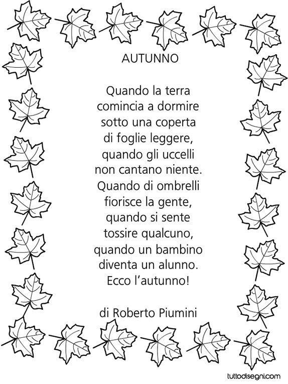 Filastrocca autunno di Piumini | Filastrocche, Letture per