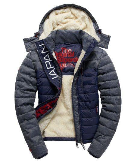Mens - Fuji Mix Double Zip Hooded Jacket in Navy