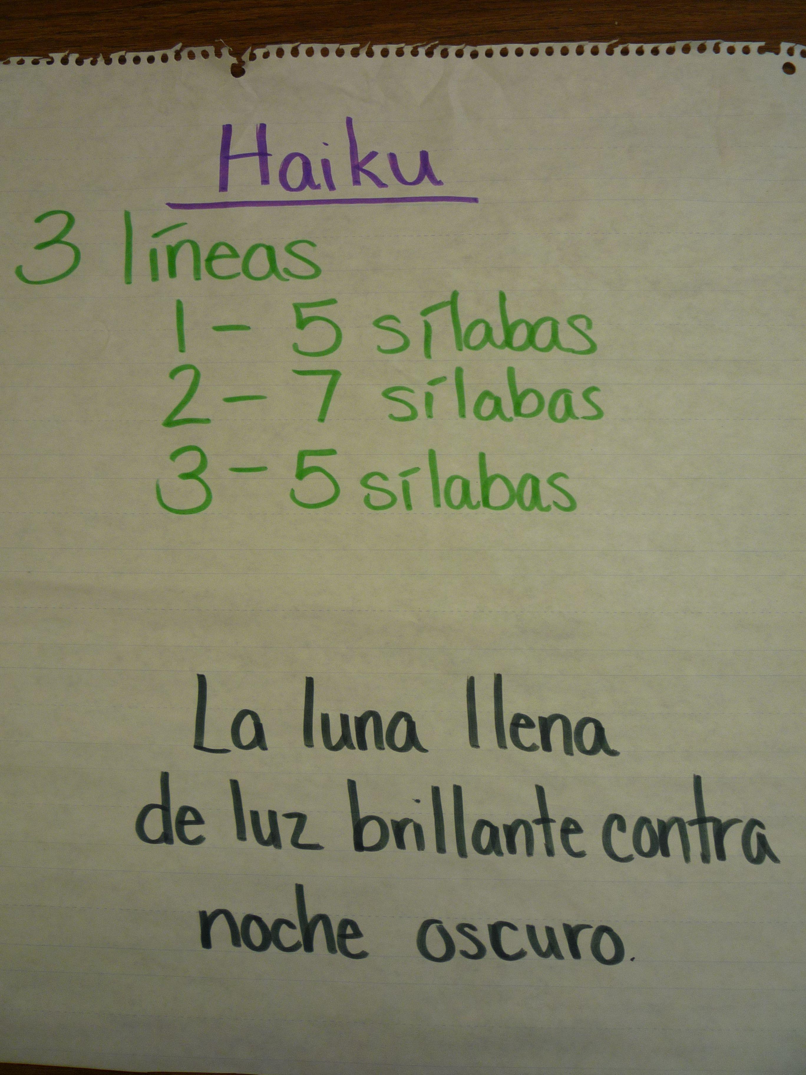 Haikus In Spanish Poetry Anchor Chart Teaching Poetry Spanish Anchor Charts