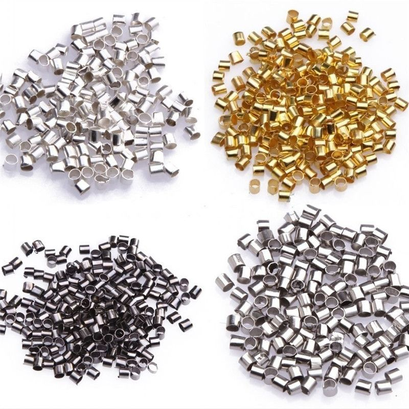 500 x SILVER PLATED 2mm TUBE CRIMP BEADS FINDINGS