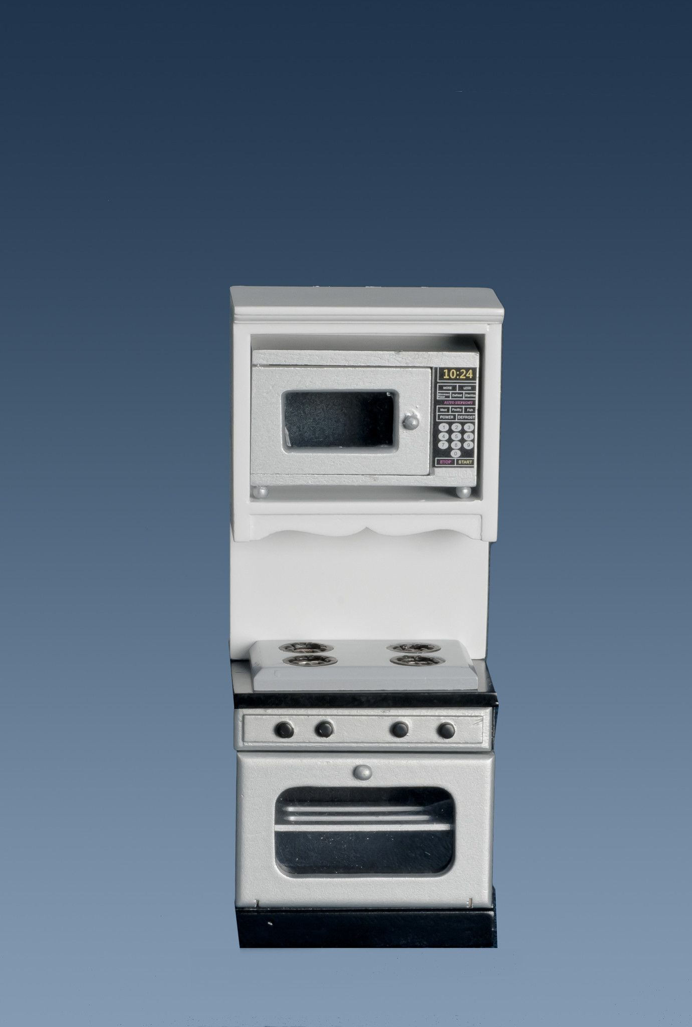 Kitchen Stove and Microwave - White, Silver, with Black | Kitchen ...