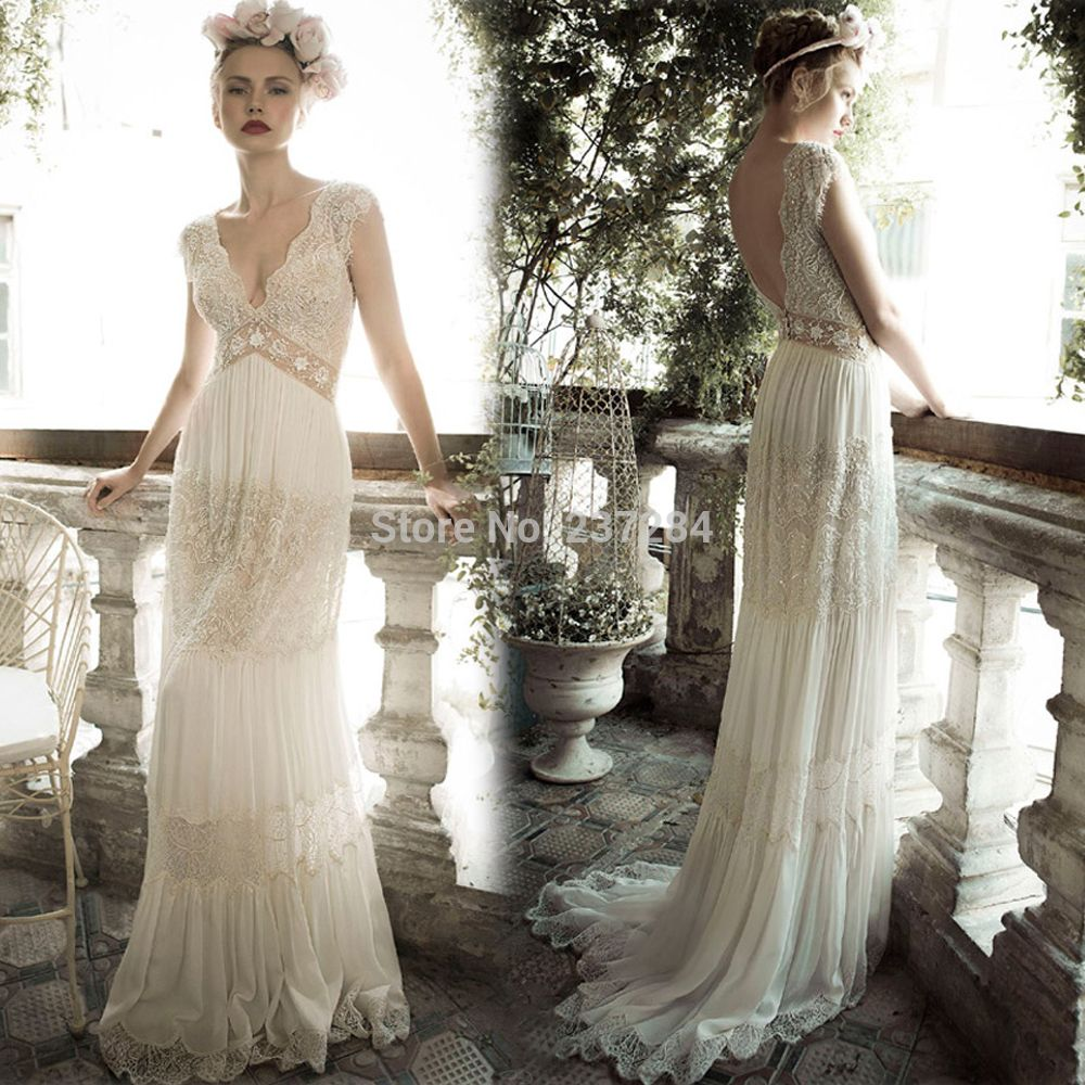 romantic boho hippie bohemian style v neck beach chiffon wedding dresses 2014 married bride dress robe