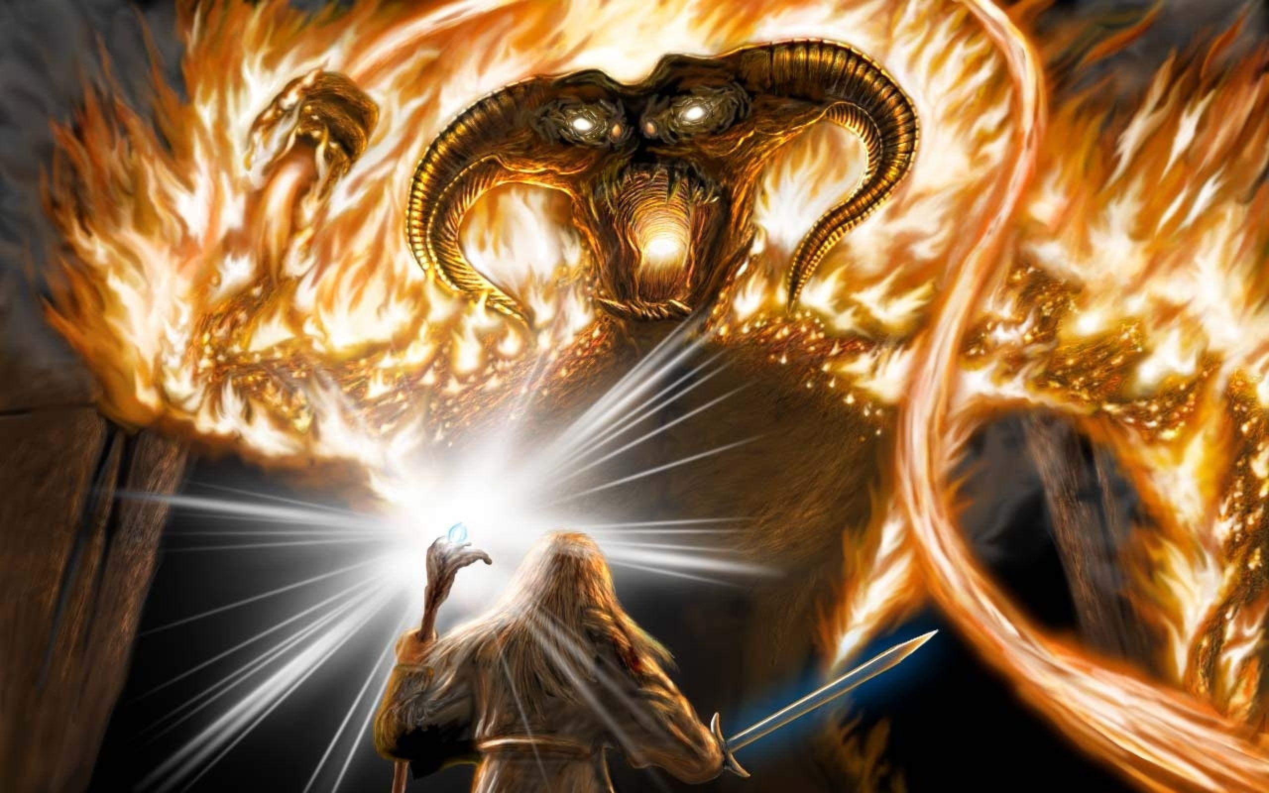 Sword Art Staff Battle Balrog Balrog The Lord Of The Rings Moria Gandalf Gandalf 2k Wallpaper Hdwallpaper Desktop Lord Of The Rings Balrog Gandalf