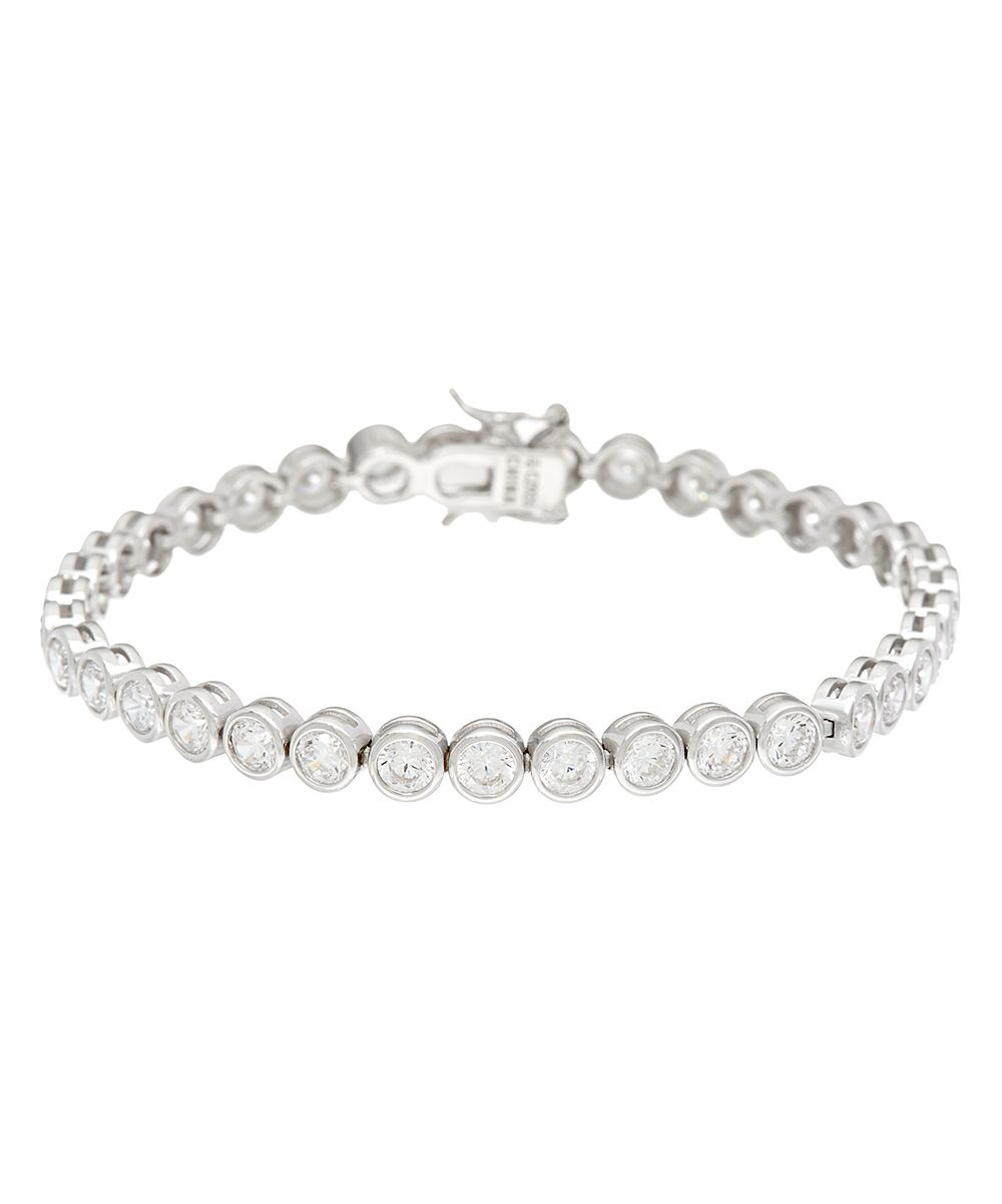 Diamonique® & Sterling Silver Bezel Tennis Bracelet