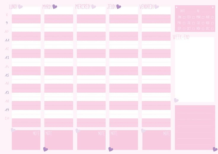 printable girly weekly planner - Buscar con Google - printable weekly planner