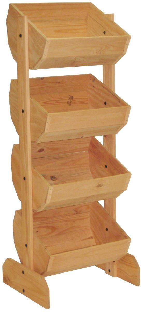 Tiered Wooden Display Floor Standing Pine Frame 4 Bins Oak Wooden Crate Wooden Display Stand Crate Shelves Diy