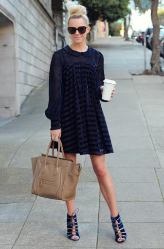the dress the bun and the bag <3