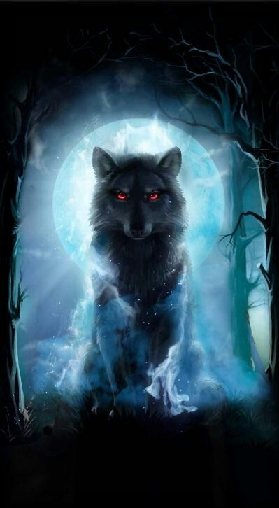 Wolf with red eyes in front of the moon