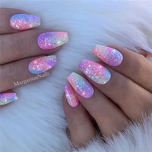 The Best Acrylic Short Coffin Nails In Summer Nail Art Connect Acrylicnails Summernails Coffinnails Coffin Shape Nails Mermaid Nails Nail Designs Glitter