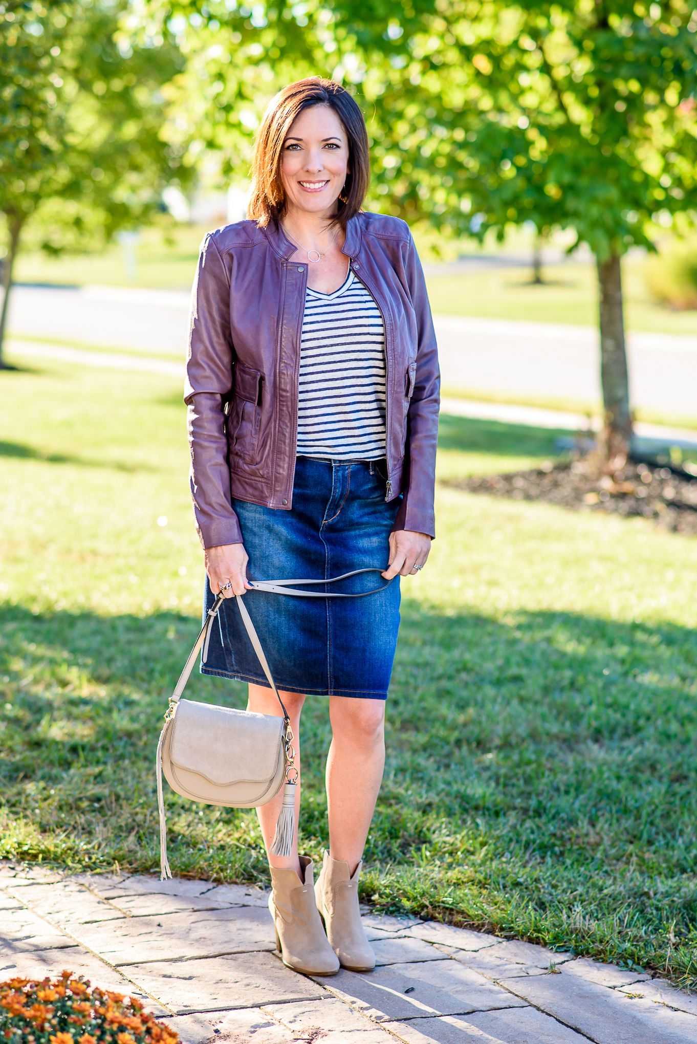 1ab4e76db Jean Skirt Outfit for Fall | FASHION FOR WOMEN OVER 40 | How to wear ...