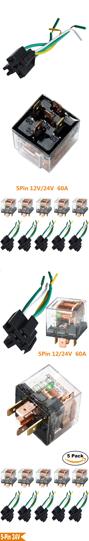 Kh 5 Set Car Relay Socket 12v 24v 60a Amp Pin Spdt Connector