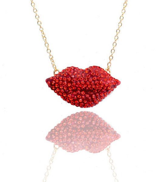 Crystal Lip Necklace Red 40 00 Thegirlnation Necklace