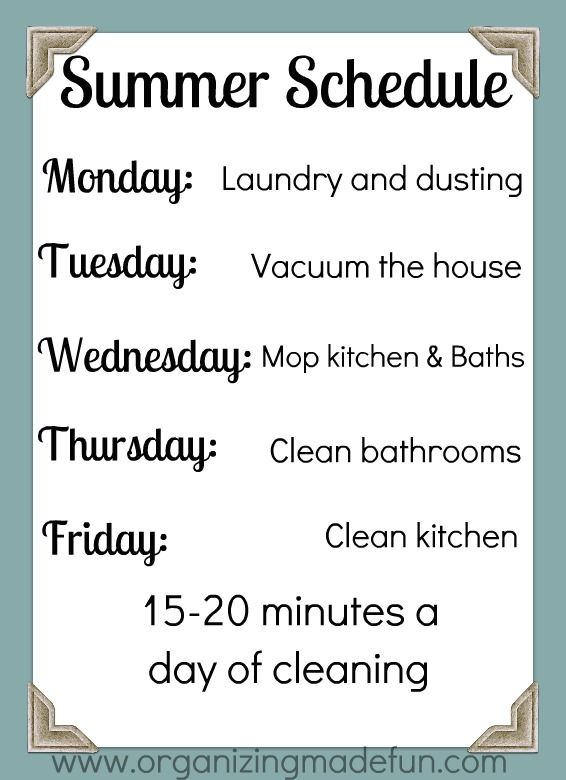 weekly Cleaning Schedule. Might print something like this after we move to see if it helps me save nap time for projects instead of cleaning. Will frame it and use whiteboard marker on the glass.
