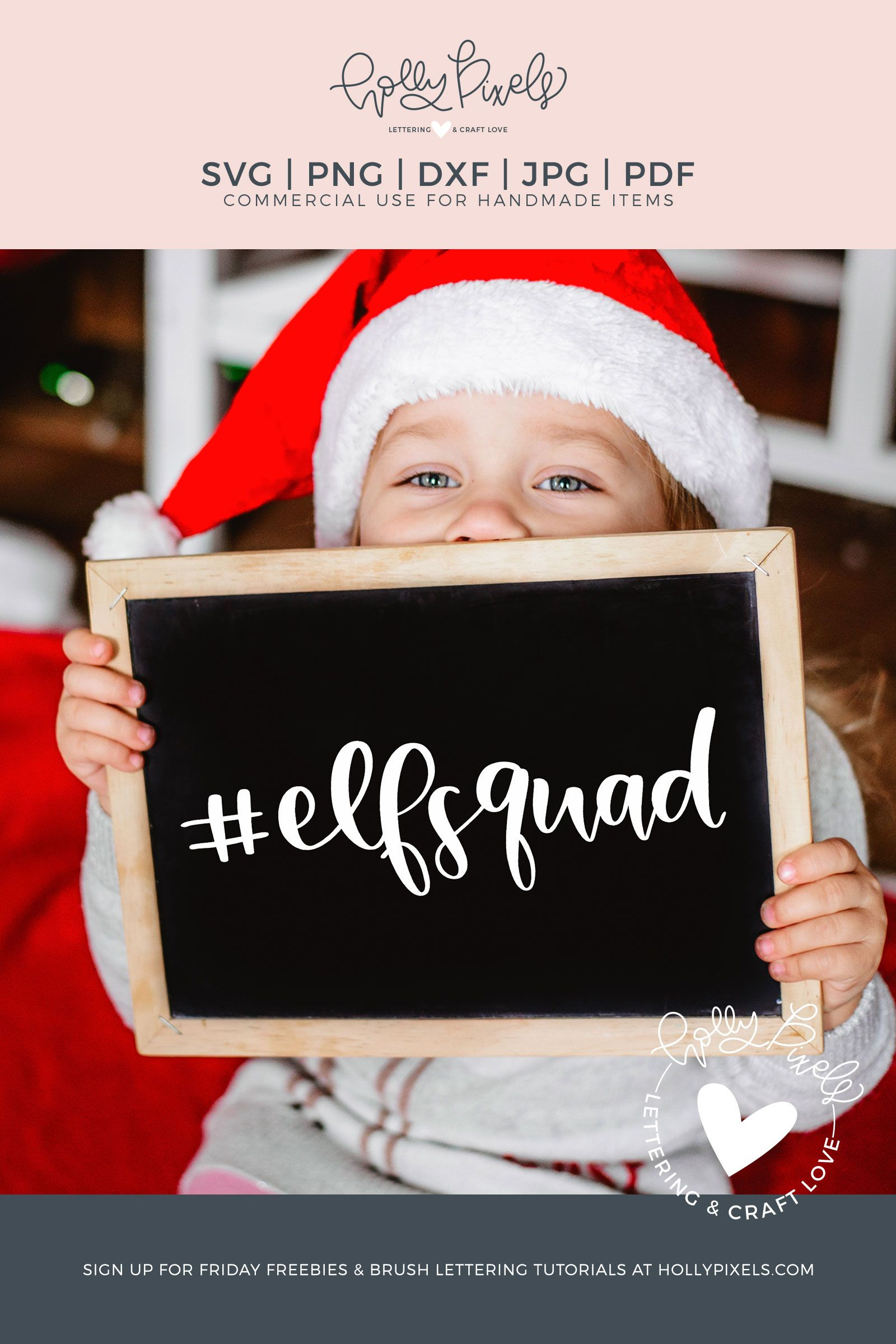 This elf SVG design features the hashtag elf squad