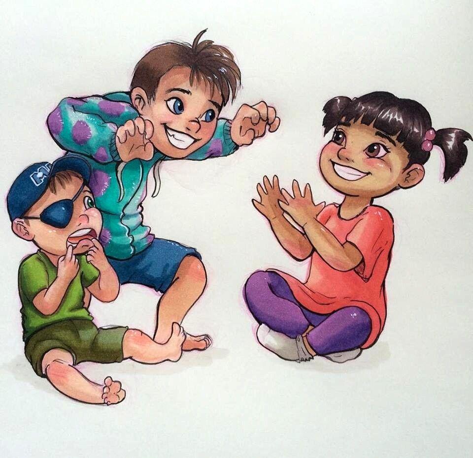 Mike, Sulley [both as humans] & Boo (Kids by LornaKelleherArt @Facebook) #MonstersInc