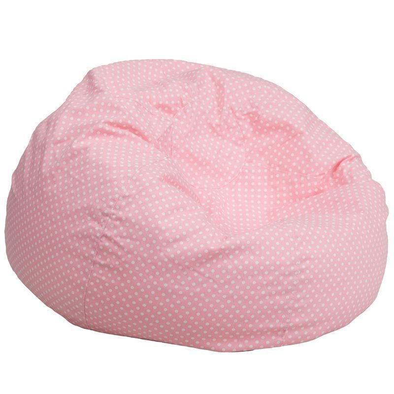 Flash Furniture Oversized Dot Bean Bag Chair (Pink, White), Size Large (Cotton)