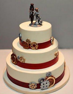 Steampunk Wedding Cake - (New Renaissance Cakes.)    Simple