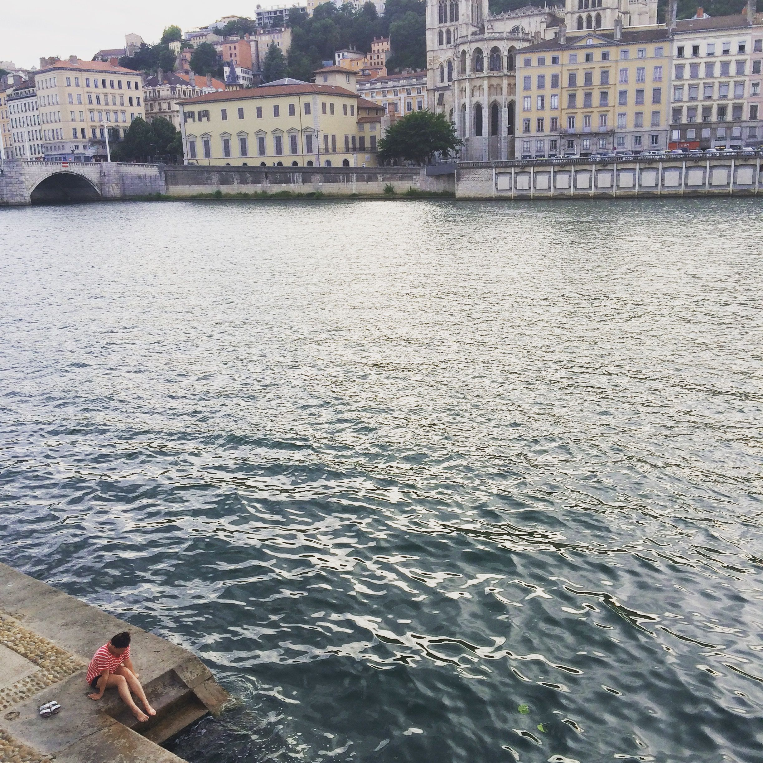 steps into the saône river | lyon, france