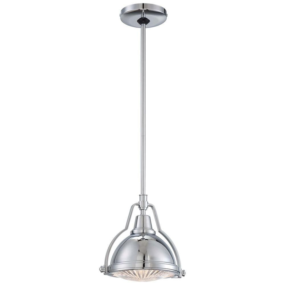 Hampton Bay 1-Light Brushed Nickel Mini Pendant with Shade and Clear ...