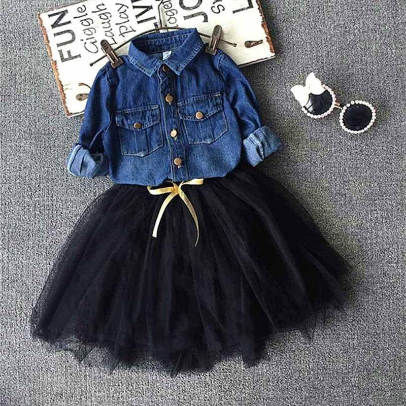Blue Black Denim Shirt Tutu Skirt Set