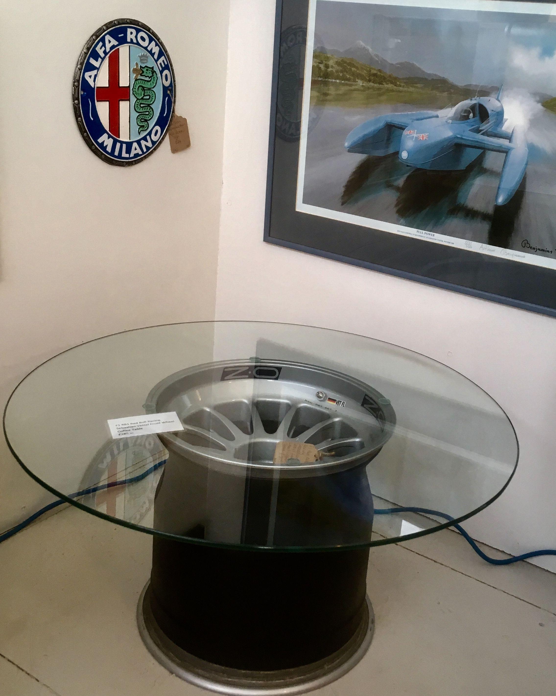 Fabulous F1 wheel coffee table. Sebastian Vettel Red Bull