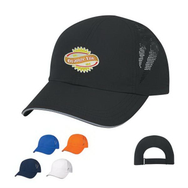 Sports Performance Sandwich Cap. 100% Lightweight Polyester. 6 Panel, Low Profile. Unstructured Crown & Pre-Curved Visor. No Top Button. Mesh Vents for Breathability. Sweatband is Woven Water Repellent Polyester.  Gray Reflective Sandwich.  Adjustable Self-Material Strap with Velcro (R) Closure.