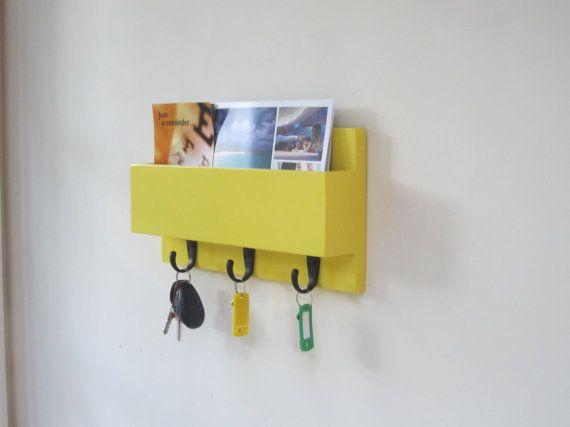 Sun Yellow Mail Holder Organizer, Mail and Key Holder, Key Rack ...