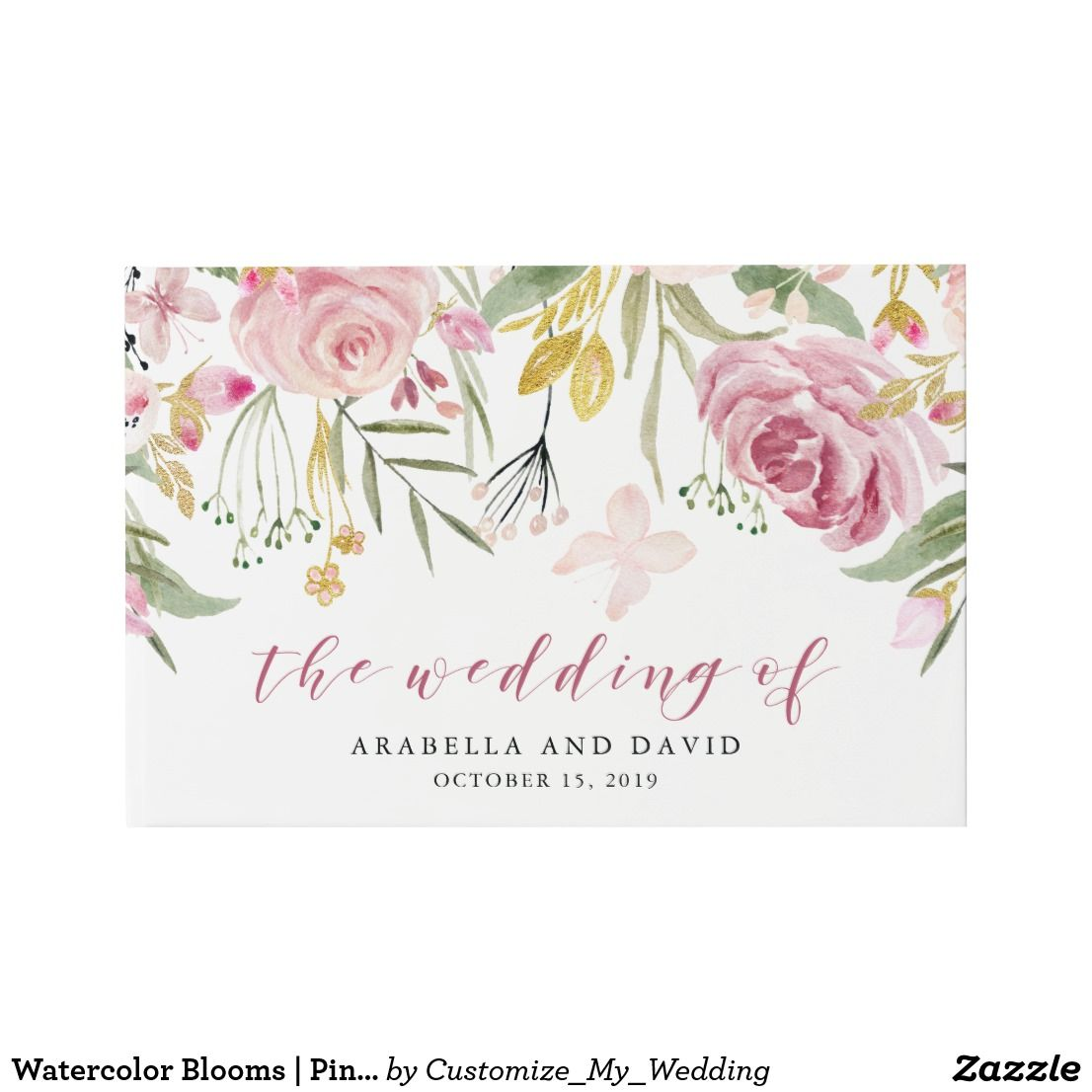 Watercolor Blooms | Pink and Gold Floral Wedding Guest Book | Floral ...