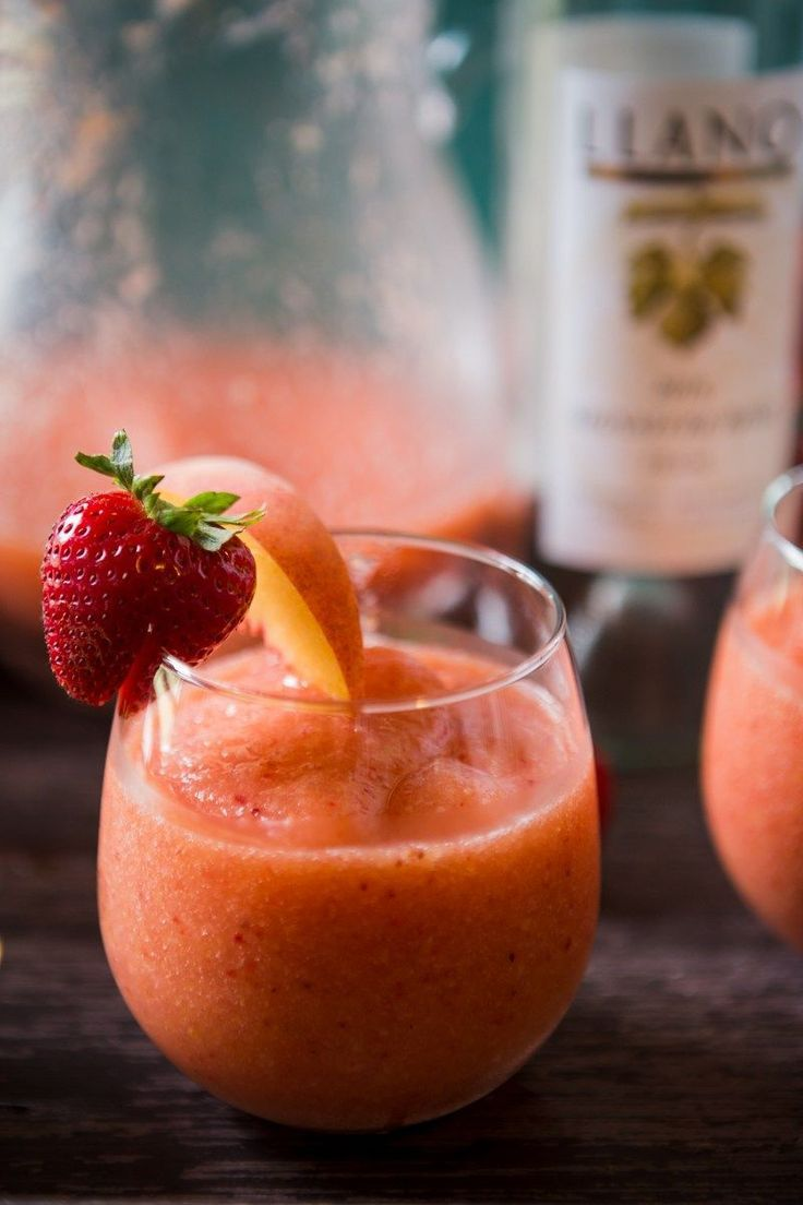 frozen rosè wine slushies with strawberries and peaches -