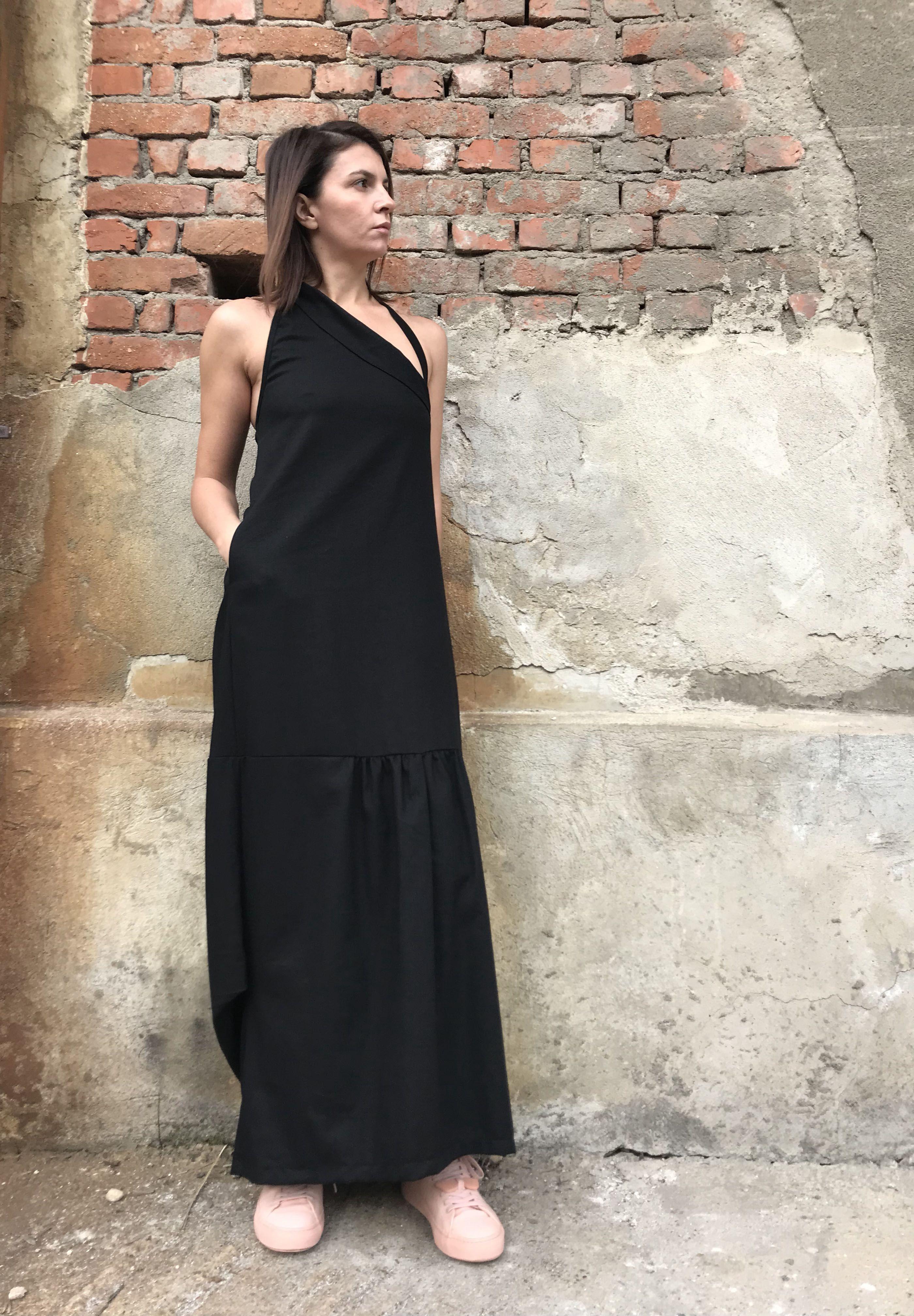 Long linen dress backless linen dress elegant linen dress evening