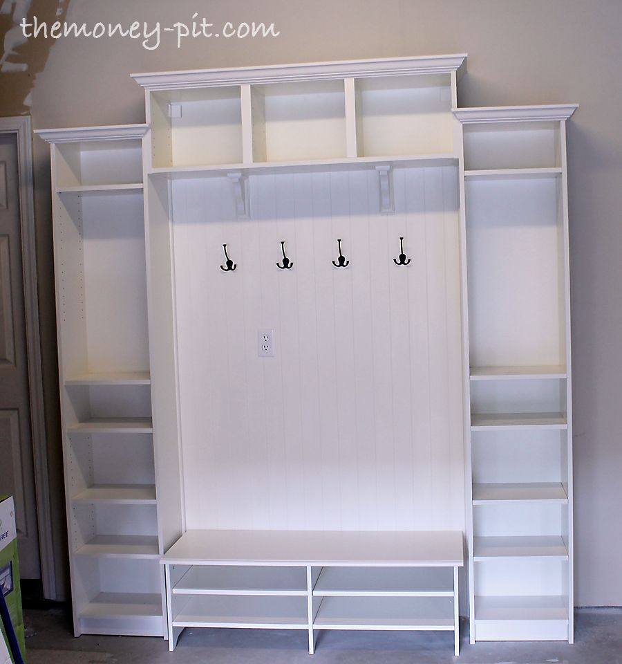 diy mudroom shelving unit using ikea billy shelves
