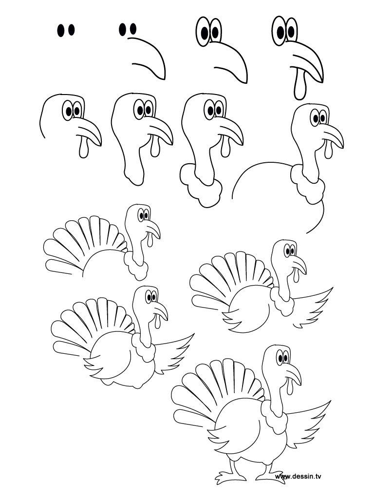 Dessin Dinde dessin dinde | instruÇÕes para desenho | pinterest
