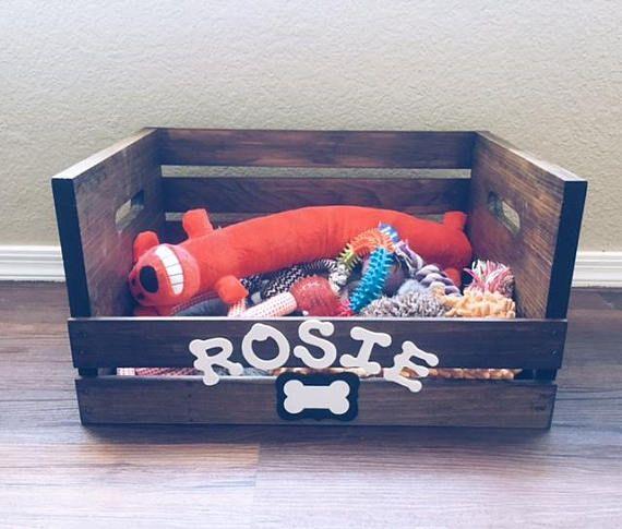 Dog Toy Box Personalized Pet Storage Toy Storage Box Big Dog Toy Box Wood Crate Dog Toy Storage Dog Wood Crate Dog Toy Storage Dog Toy Box Diy Toy Storage