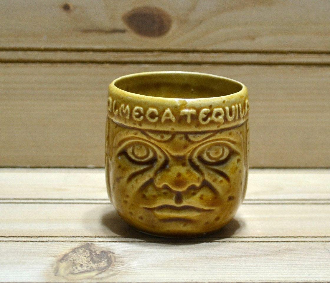 Vintage Tiki Shot Glass Olmeca Tequila Barware Lula Party