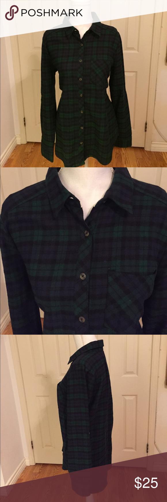 Dark green dress shirt  Drk GreenNavy Plaid Flannel Shirt w Long Sleeves  Plaid flannel