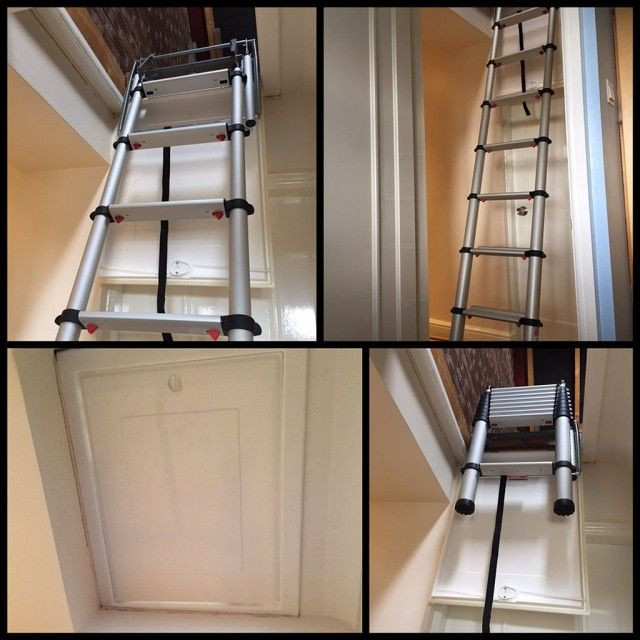 Telesteps 60324 Telescopic Loft Ladder For Small Hatch Sizes Loft Ladder Attic Renovation Attic Ladder
