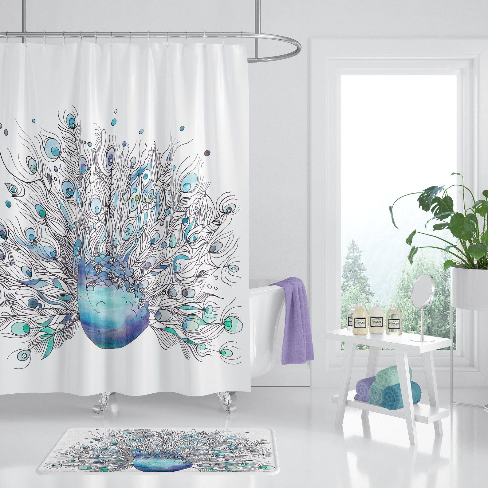 Peacock Shower Curtain Peacock Watercolor Art Blue Etsy Blue Shower Curtains Peacock Shower Curtain Pretty Shower Curtains