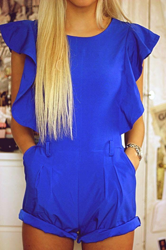 da835523747a Royal Blue Romper + Long Blonde Hair | Fashion. in 2019 | Fashion ...