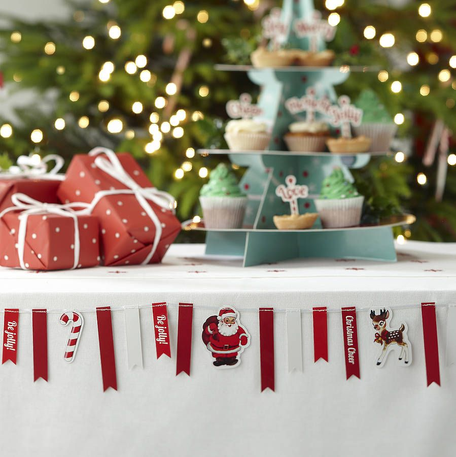 Family Christmas Party Ideas Part - 19: Christmas Vintage Style Mini Bunting. Banquet Table DecorationsChristmas  Party ...