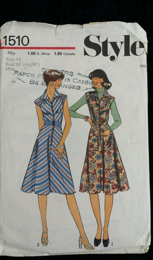 Vintage 1970s Sewing Pattern Style 1510 Bias Cut Dress Size 14 Bust 36