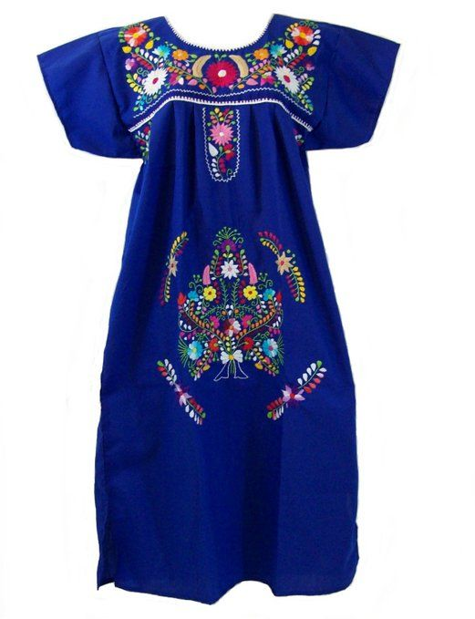 c49ce2579 Leos Mexican Imports Mexican Dress Puebla Royal Blue L at Amazon Women's  Clothing store