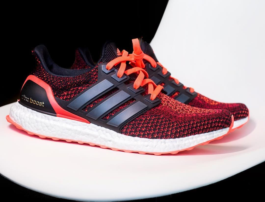 Hyper red . Adidas Ultra Boost: Solar Red . This color way
