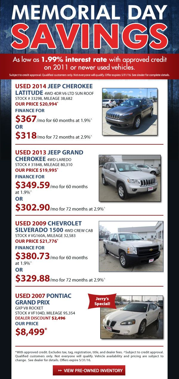 Jerry'S Auto Sale >> Memorial Day Savings Offers And Free Stuff Come See Us At