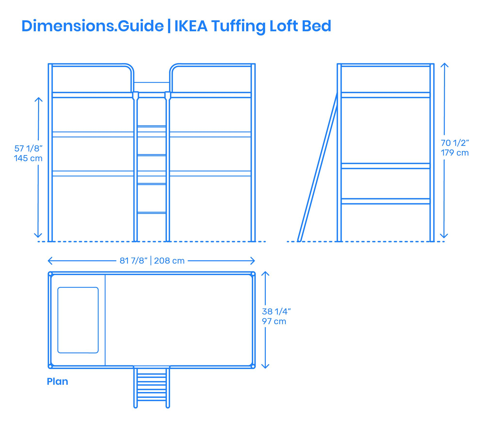 The IKEA Tuffing Loft Bed is a steel frame loft bed with