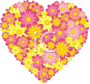 iCLIPART - Royalty Free Clipart Image of a Floral Heart