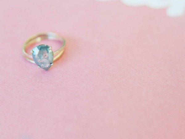 Aquamarine gem, gold band | Image by Wendy Laurel