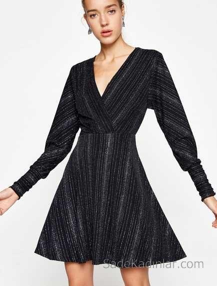 2018 Koton Elbise Modelleri Siyah Kisa V Yakali Uzun Kollu Elbise Modelleri Moda Stilleri Elbise