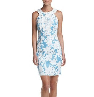 Taylor Dresses Crochet Trim Printed Dress