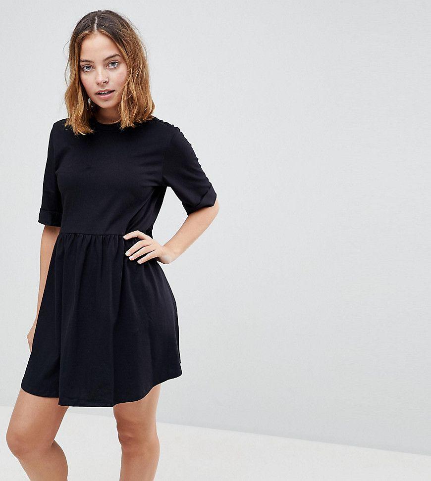 ASOS PETITE - Ultimate - Mini-Hängerkleid aus Baumwolle - Schwarz ...