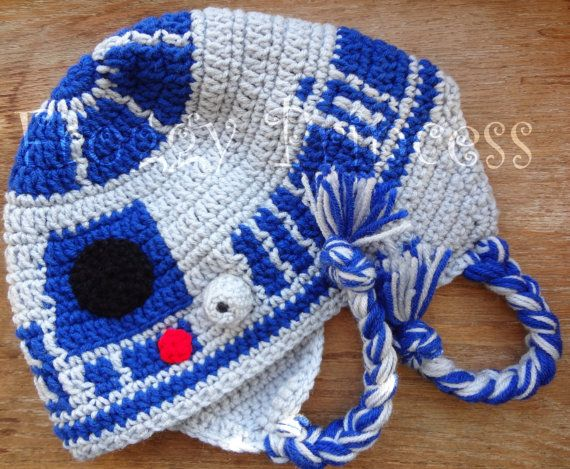 Star Wars Inspired R2-D2 EAR FLAP Hat L / XL Adult Size Hand Crocheted